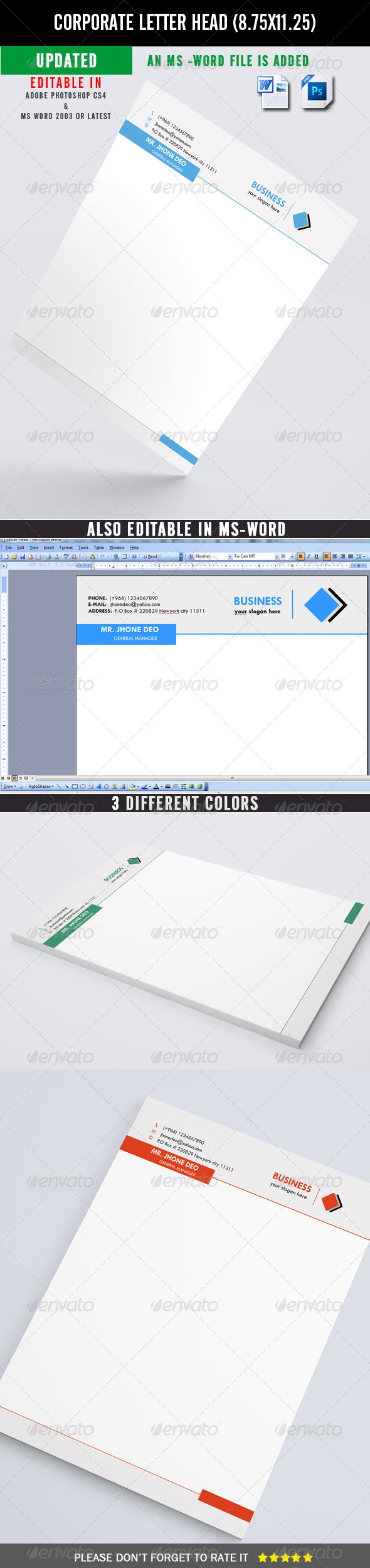 Corporate Letter Head (UPDATED) - Stationery Print Templates