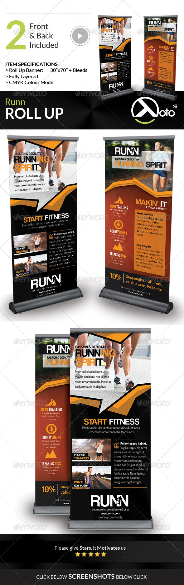 Runn Marathon Running Club Fitness Rollup Banners - Signage Print Templates
