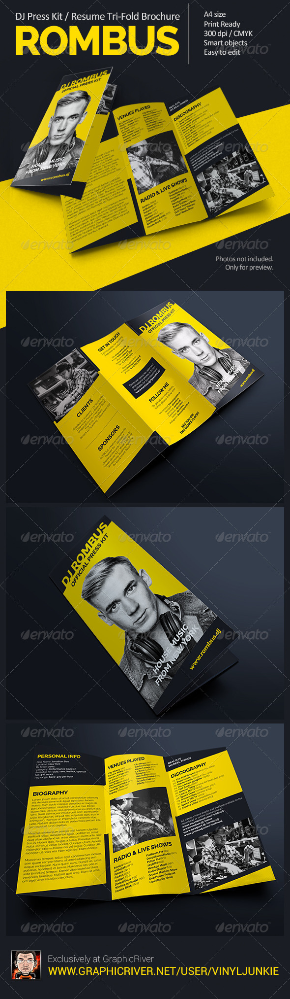 Rombus - DJ Press Kit Tri-Fold Brochure - Portfolio Brochures