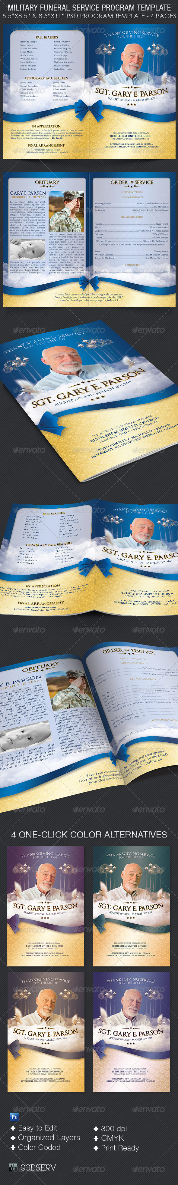 Military Funeral Service Program Template - Print Templates