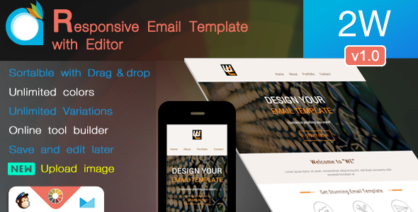 2W – Responsive Email Template with Editor