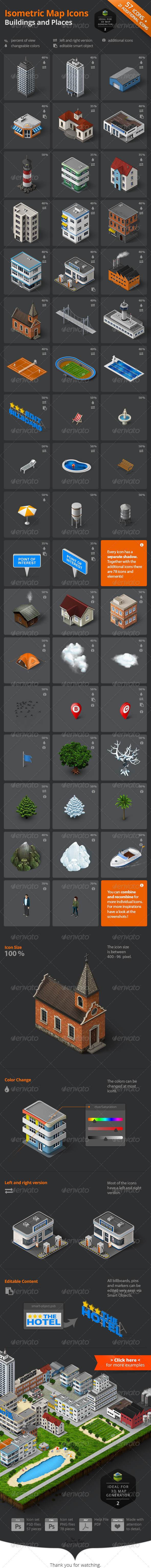 Isometric Map Icons - Buildings and Places - Objects Icons