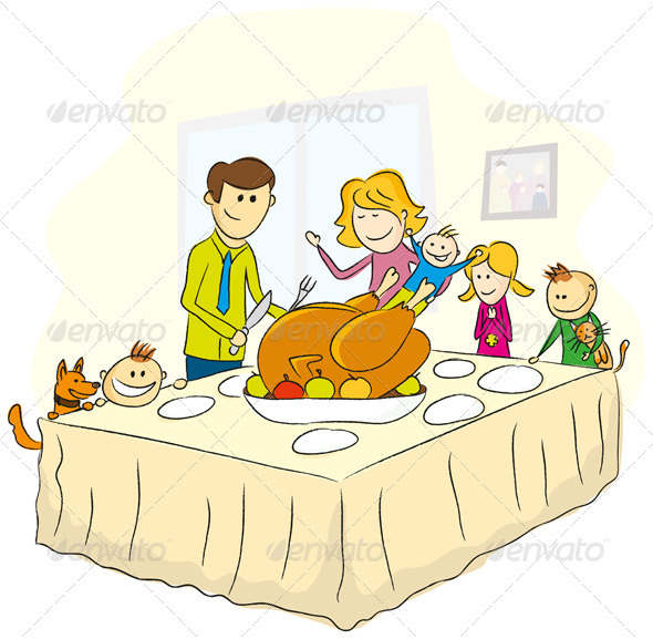Thanksgiving Day Illustration With Family - People Characters