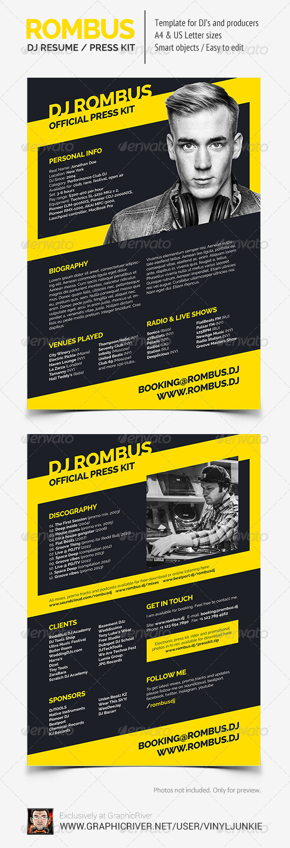 rombus dj resume press kit psd template by vinyljunkie