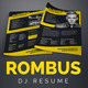 Rombus - DJ Resume / Press Kit PSD Template - GraphicRiver Item for Sale