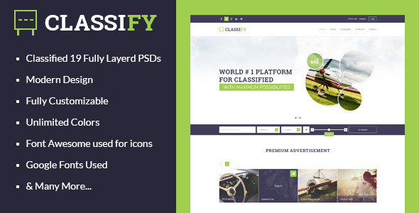 Classify - Classified Ads PSD Template - Miscellaneous PSD Templates
