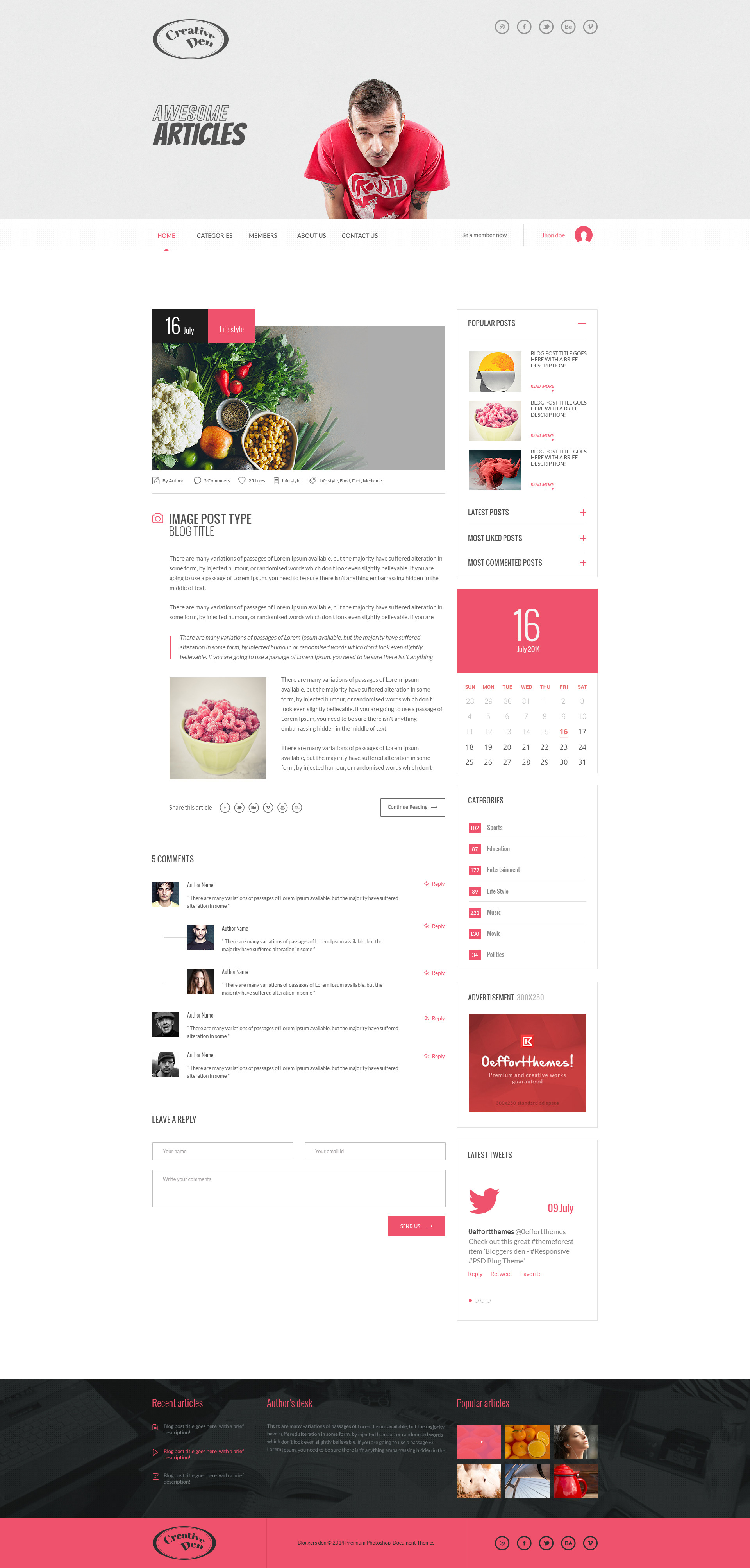 Bloggers Den - One Page Personal Blog Template by