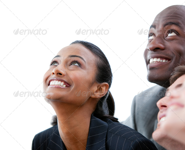 Cheeful business people smiling - Stock Photo - Images