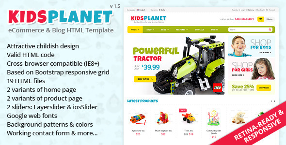 Kids Planet – Responsive Ecommerce/Blog HTML Theme