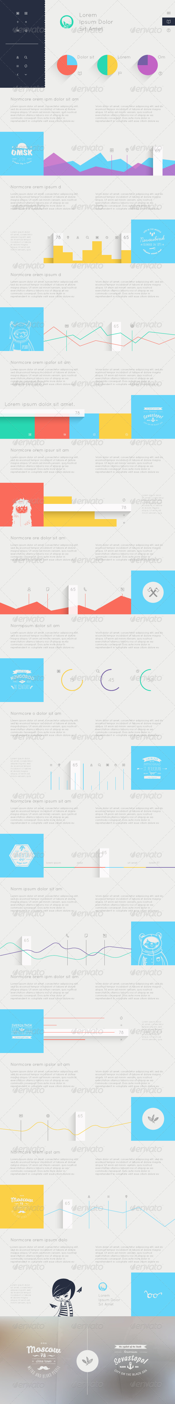 Elements of Infographics with Buttons and Menus - Web Elements Vectors