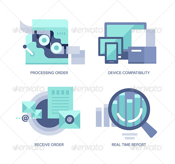 Processing Online Order - Technology Icons