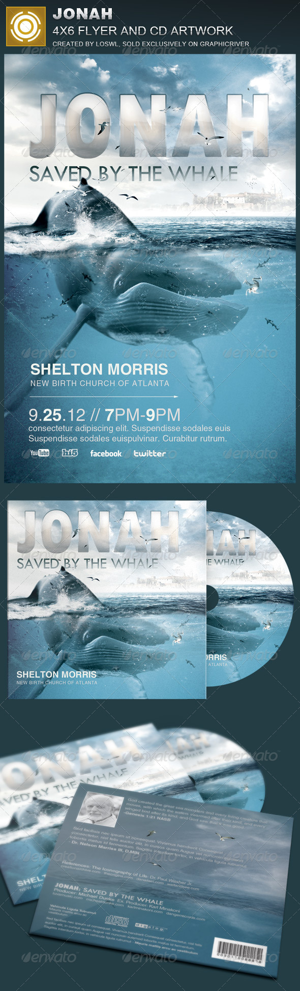 Jonah Church Flyer and CD Template - Church Flyers