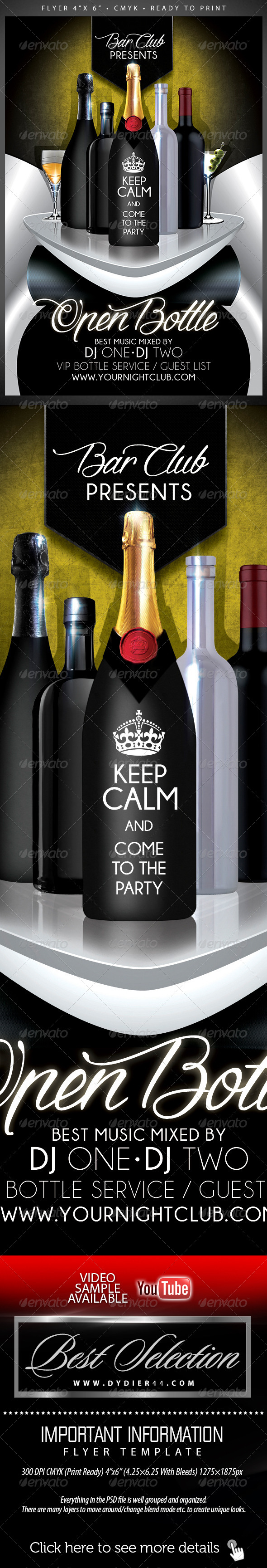 Open Bottle (Flyer Template 4x6) - Print Templates