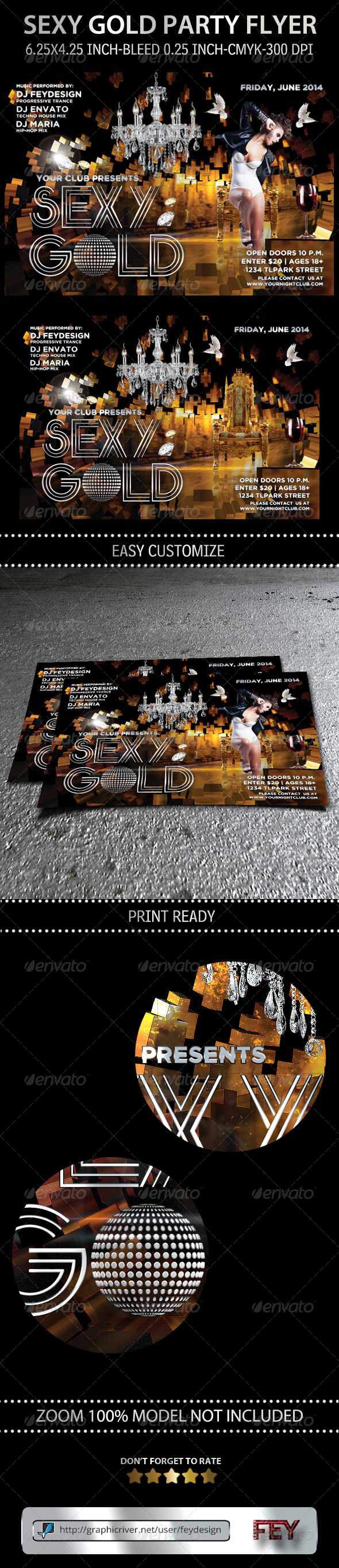 Sexy Gold Party Flyer - Clubs & Parties Events