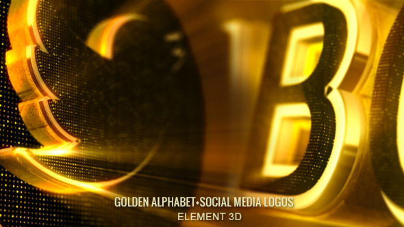 Alphabet 3d Gold-Abc & Social Media Icons by jvirgos | VideoHive