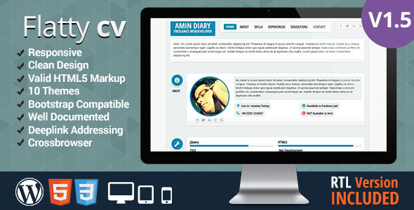 Flatty CV – Responsive Resume Template