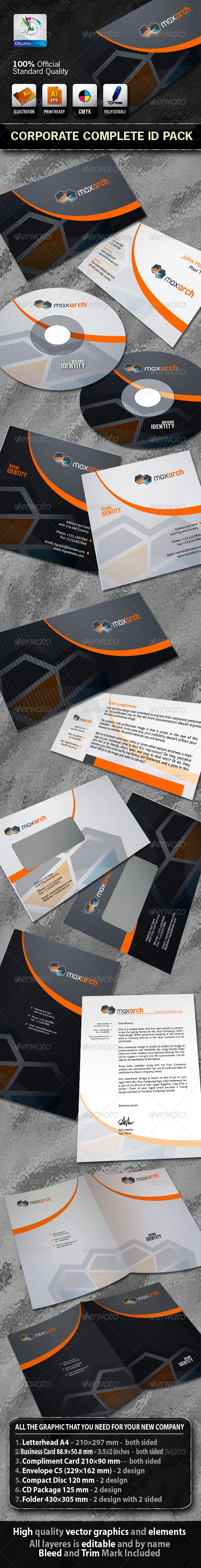MaxArch Business Corporate ID Pack With Logo - Stationery Print Templates
