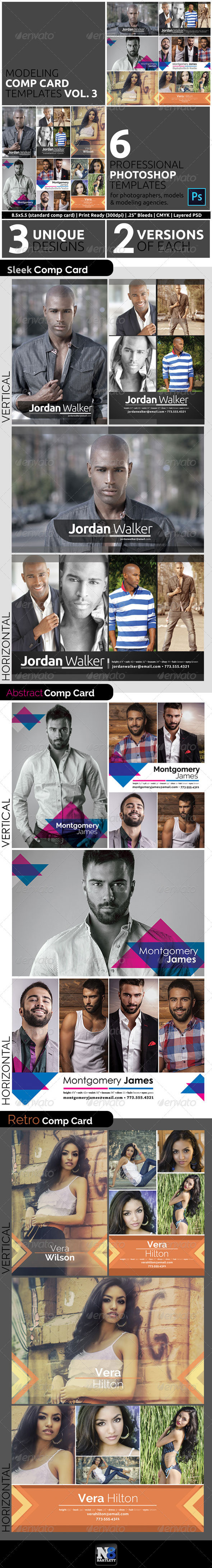 Model Comp Card Template Kit Vol. 3 - Miscellaneous Print Templates