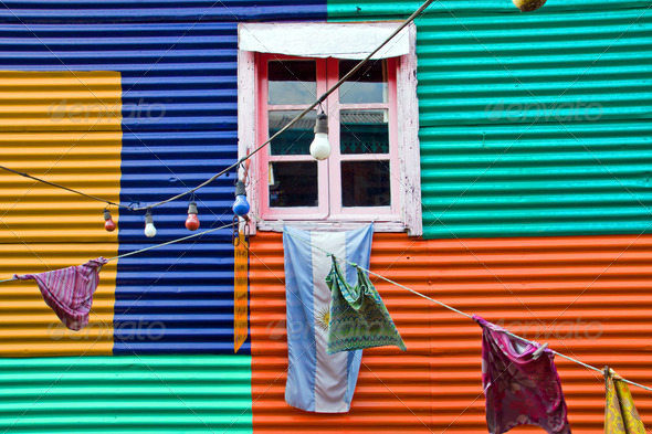 Colourful window with laundry in La Boca - Stock Photo - Images