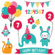 Kid Birthday Vector Set  - GraphicRiver Item for Sale