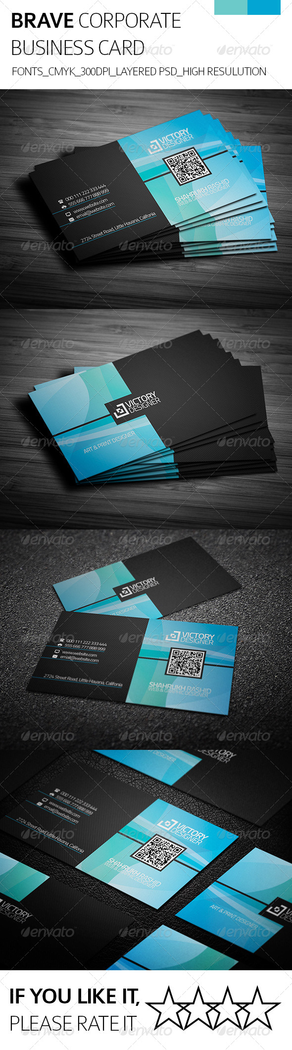 Brave & Corporate Business Card - Corporate Business Cards
