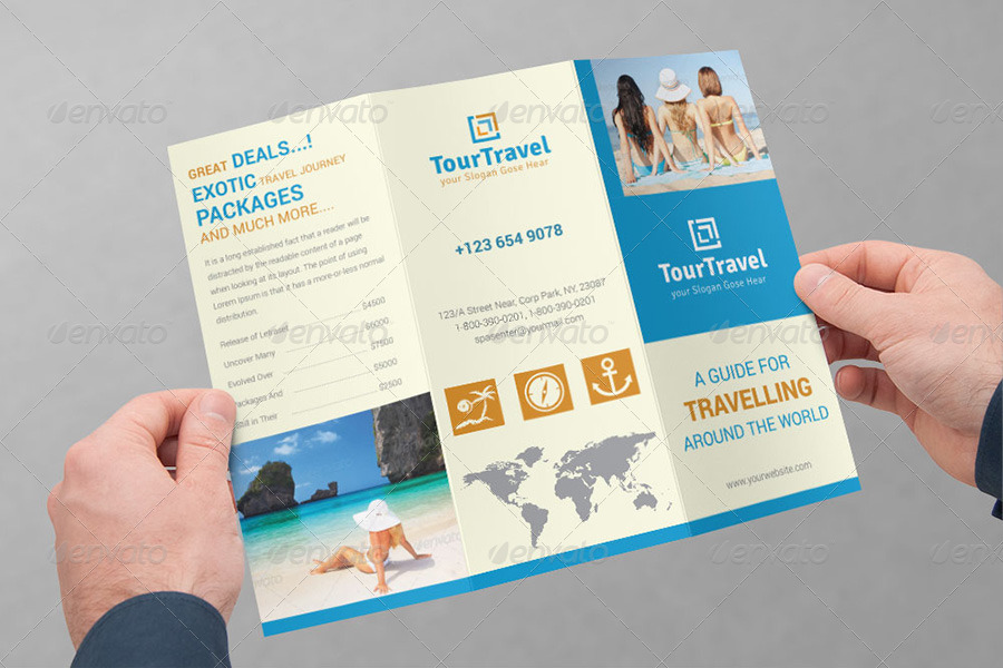 travel tourism tri fold brochure bundle v1