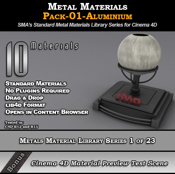 Metals Material Pack-01-Aluminium for Cinema 4D - 3DOcean Item for Sale