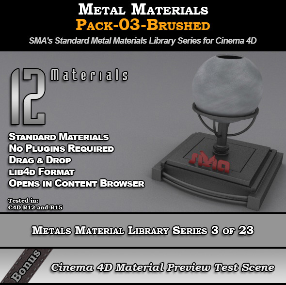 Metals Material Pack-03-Brushed for Cinema 4D - 3DOcean Item for Sale