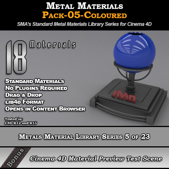 Metals Material Pack-05-Coloured for Cinema 4D - 3DOcean Item for Sale