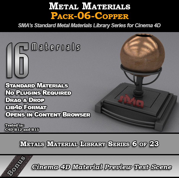 Metals Material Pack-06-Copper for Cinema 4D - 3DOcean Item for Sale