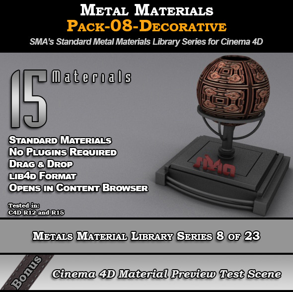 Metals Material Pack-08-Decorative for Cinema 4D - 3DOcean Item for Sale