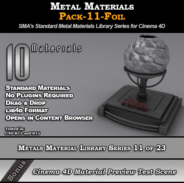 Metals Material Pack-11-Foil for Cinema 4D - 3DOcean Item for Sale