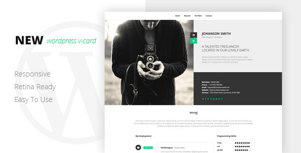NEW Retina Ready WordPress Vcard Theme - Portfolio Creative