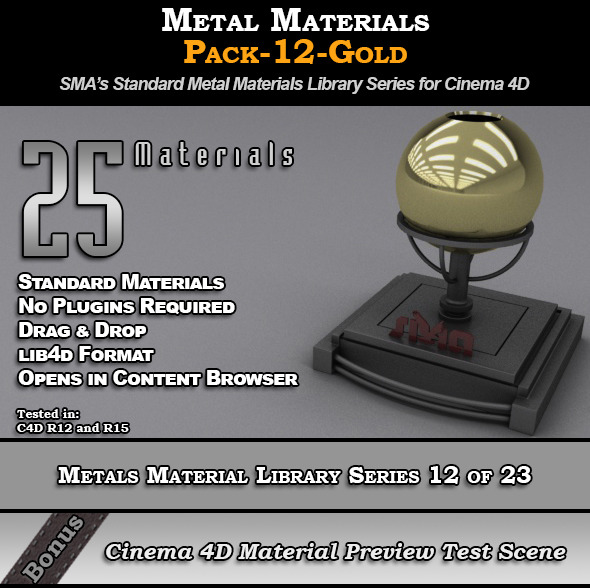 Metals Material Pack-12-Gold for Cinema 4D - 3DOcean Item for Sale