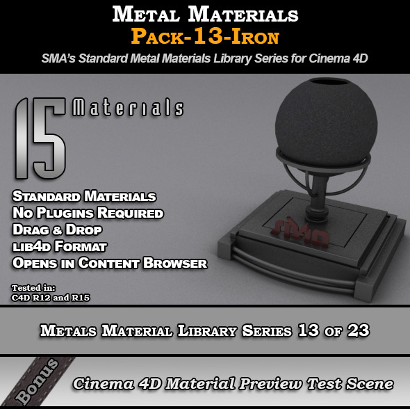Metals Material Pack-13-Iron for Cinema 4D - 3DOcean Item for Sale