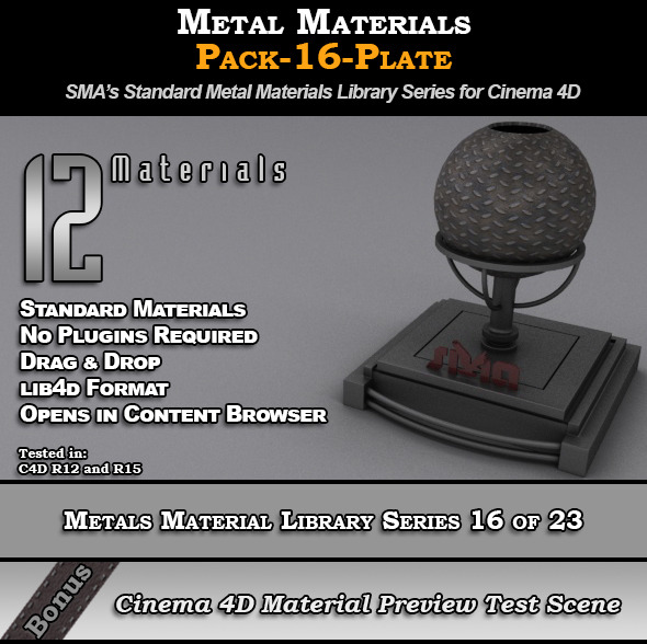 Metals Material Pack-16-Plate for Cinema 4D - 3DOcean Item for Sale