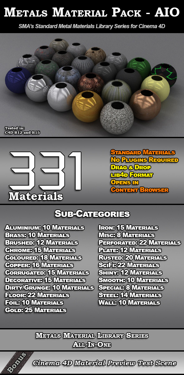 331 Standard Metal Materials Pack AIO for C4D - 3DOcean Item for Sale
