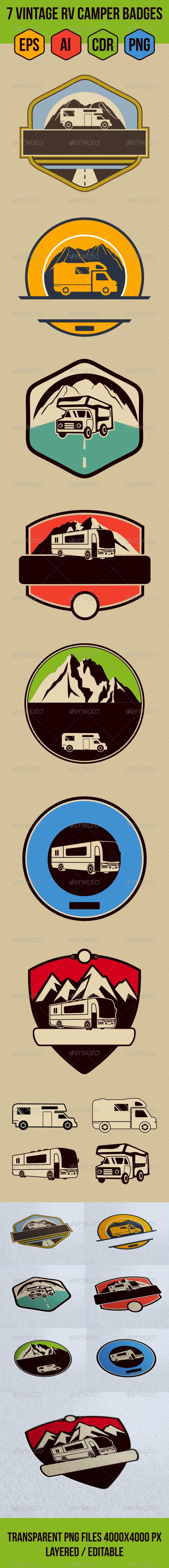 7 Vintage RV Camper Badges - Retro Technology