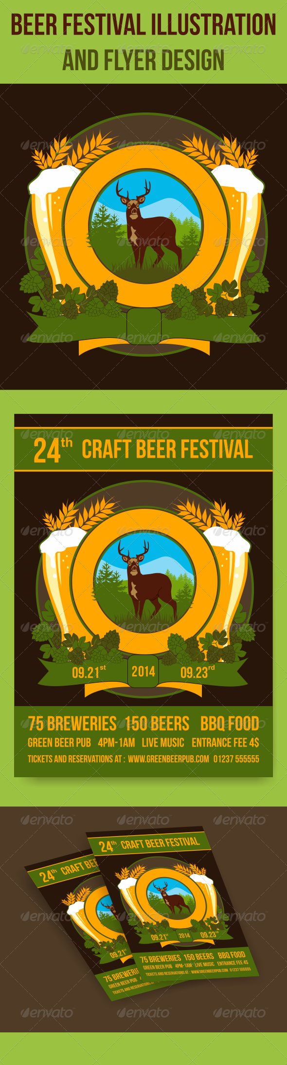 Beer Festival Illustration and Flyer Design - Decorative Vectors