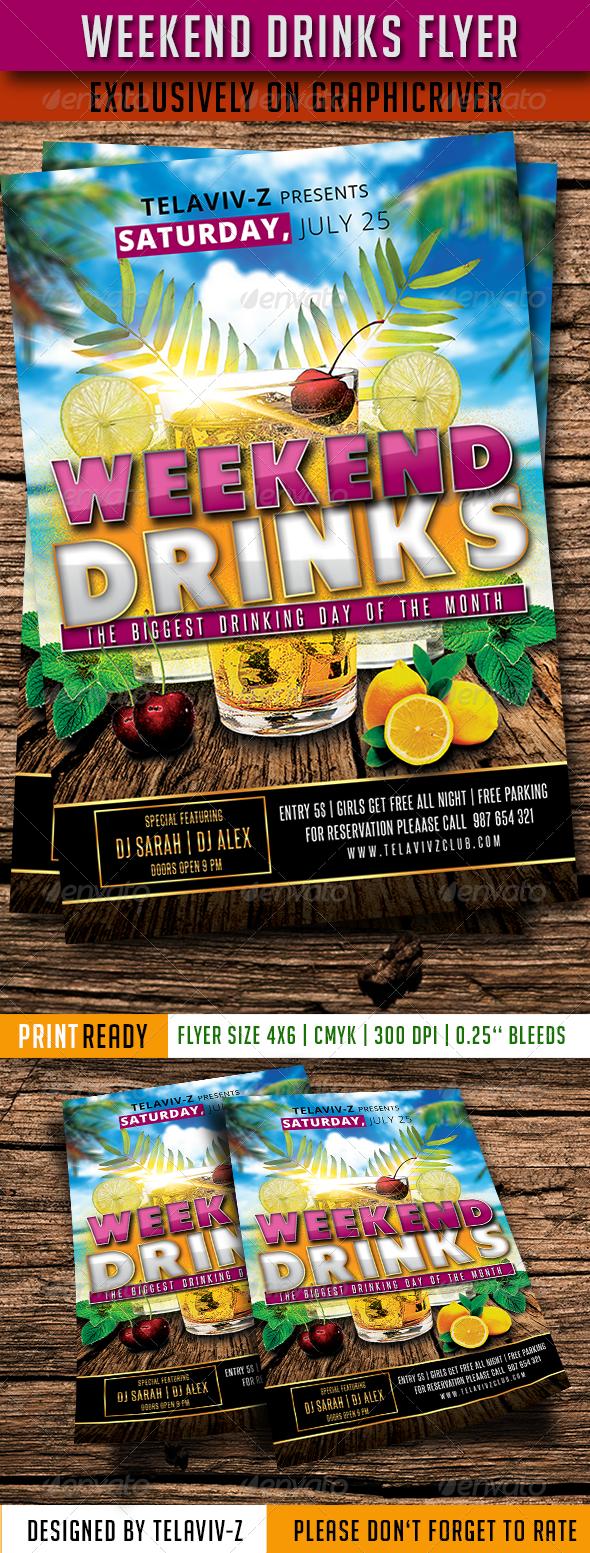 Weekend Drinks Flyer - Events Flyers