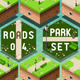 Isometric Roads on Green City Park - GraphicRiver Item for Sale