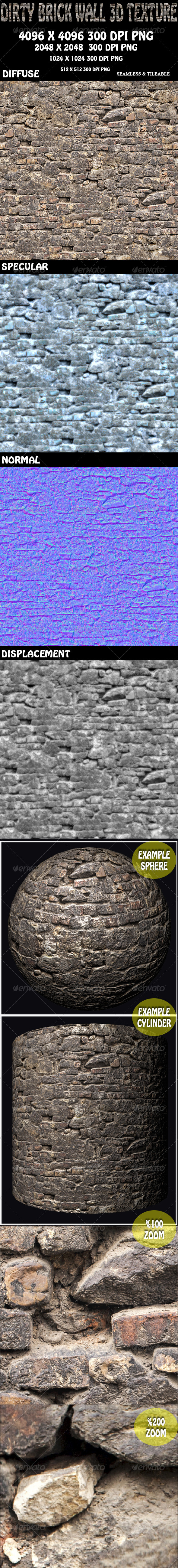 Dirty Brick Wall Texture - 3DOcean Item for Sale