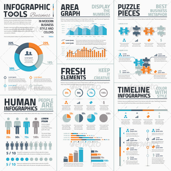 large collection of infographic vector templates by