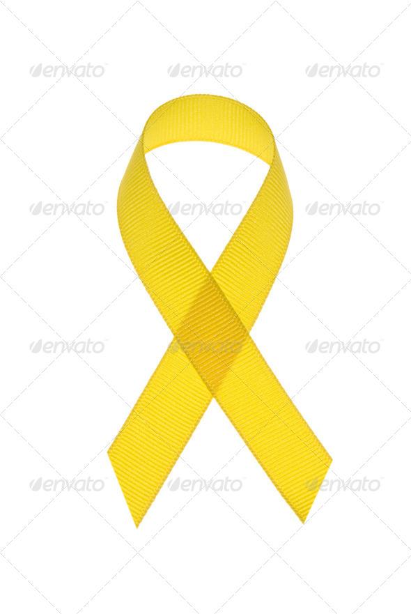 Yellow cancer awareness ribbon - Stock Photo - Images