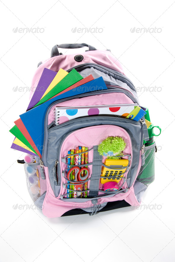 Pink book bag - Stock Photo - Images