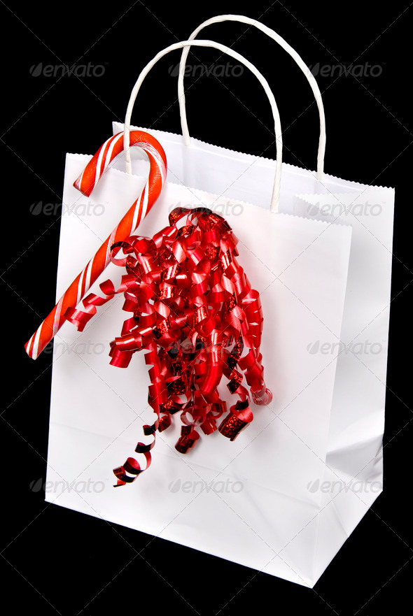 White candy cane bag - Stock Photo - Images