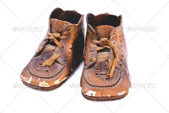 Bronzed baby shoes - Stock Photo - Images
