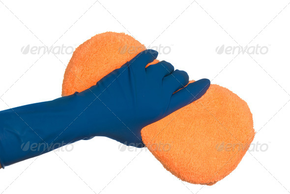 Gloves and sponge - Stock Photo - Images