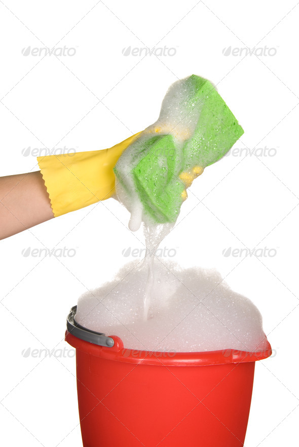 Sponge, bucket and soapy water - Stock Photo - Images