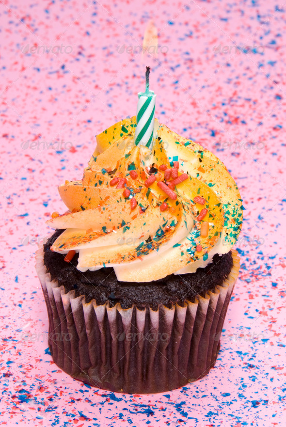 Cupcake with Candle - Stock Photo - Images